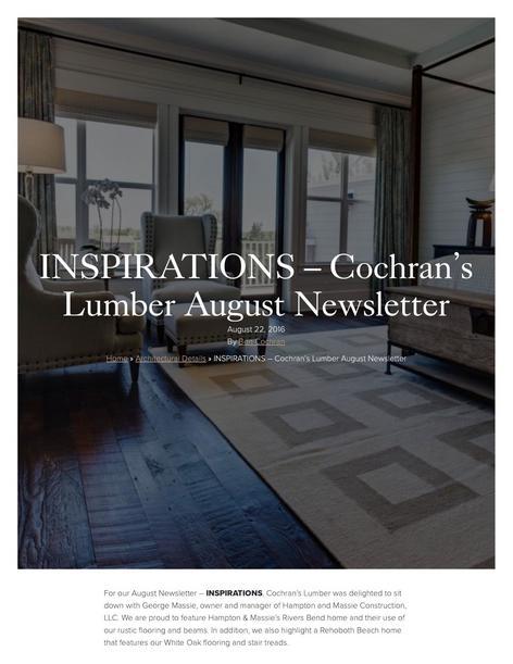 Cochrans Lumber August 2016 Newsletter